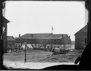 Matthew Brady photograph of Libby Prison, 1865. From the National Archives and Records Administration.