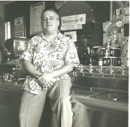 Mr. Mike at the soda fountain